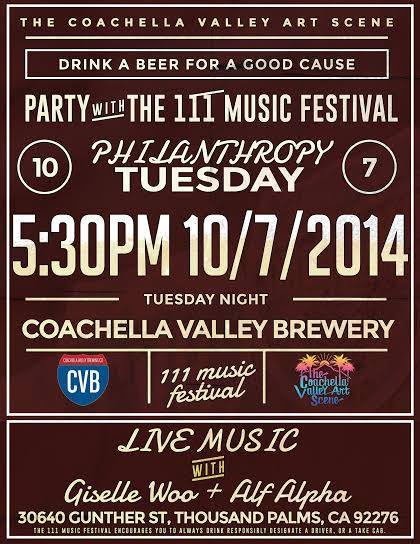 Come out to Coachella Valley Brewing Co.'s Philanthropy Tuesday event in support of raising money for the 111 Music Festival!